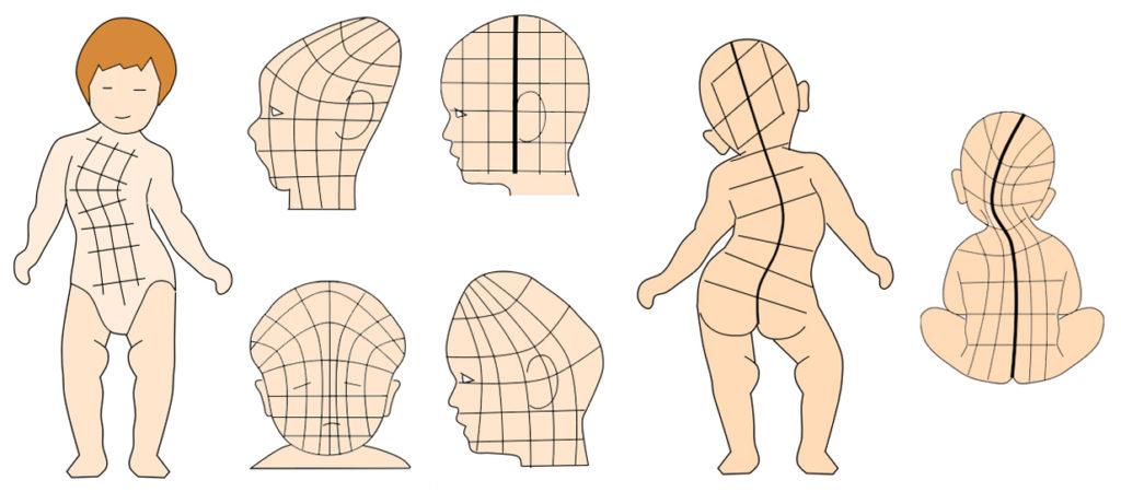 骨格細分化調整のマス目の歪み